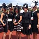 Clare, Jane, Jane B, Jenny and Julie in the mounting yard before Jolie Bays race