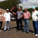 Clare, Wayne, Greg, Michael and Frank with the Pentire x Special Jade gelding in NZ