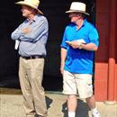 Gerry Harvey with John inspecting yearlings from his draft