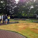 Hawkes Racing Tour at Cambridge stud looking over Sir Tristrams statue
