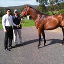 Happy owner  Wes Holland with  Tim Boland and the Postponed x Forlorna Colt