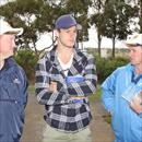 John, Wayne and Carlton great Bryce Gibbs inspecting yearlings at the sales