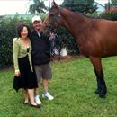 Jane Barham and John with her filly Jolie Bay