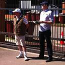 John and Ben Ingham looking at yearlings