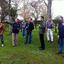 John Thompson of Rich Hill Stud explaining the history of the farm to the group