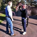 John at Oakridge farm talking to Tony Hall about the progress of Maluckyday (pictured).