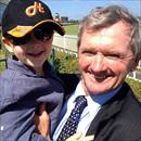 Lachlan and his Grandfather at Caulfied celebrating Rainbow Styling's win