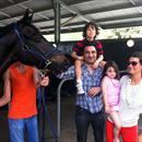 Michael Dascarolis and his family at Warwick Farm trials with their horse Cleansing Ale...