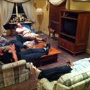 The boys relaxing after Matt the chef cooked up a storm .....